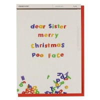 Poo Face Sister Christmas Card Photo