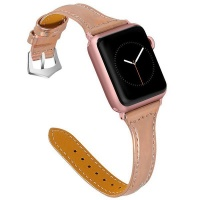 Apple GoVogue Classic Leather Slim Design Watch Strap - Champagne Photo