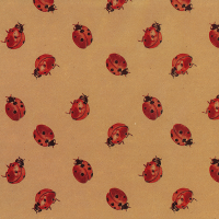 Gift Wrapping Paper 5m Roll - Ladybird on Brown Kraft Photo