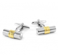 Silver & Gold Cylinder Classical Style Cufflinks For Men Photo