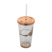 Double Wall With Glitter Tumbler With Straw And Lid - 470ml Photo