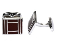 Androgyny Copper-based Red Square Lined Cufflink VC6526 Photo