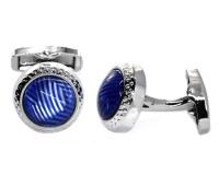 Androgyny Copper-based Round Blue Cufflink VC6535 Photo