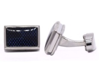Androgyny Silver-plated Cufflinks with Blue Grid Pattern VC6562 Photo