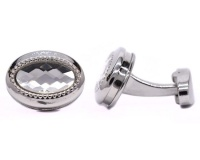 Androgyny Silver-plated Cufflinks with Clear Faceted Oval Stone VC6563 Photo