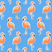 Gift Wrapping Paper 5m Roll - Flamingo On Blue Photo