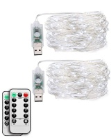 LED USB Christmas String Lights Cool White Remote Controlled Fairy Lights- 2 Set Photo