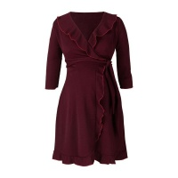 Frilly Wrap Dress Burgundy Photo