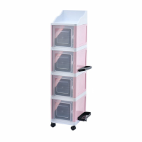 4 Tier Stackable Multi-Functional Cabinet with Umbrella&Accessory Rack - Pink Photo