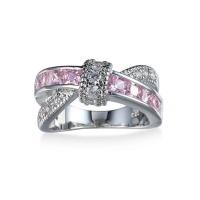 DHAO-Women's Fashion Platinum Plated Zircon Cross Wedding Ring Photo