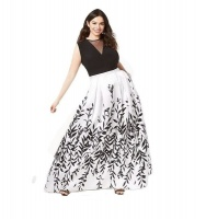Morgan Trendy Leaf Printed A-Line Gown Photo