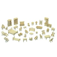 Lazer Cut Doll House Furniture Self Assemble 34 Piece Photo