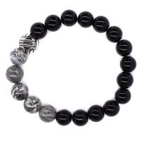 Androgyny Black and grey stone bead stretch bracelet SSGB7313 Photo