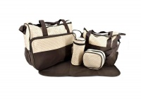 5 Pieces Multifunctional Mother Baby Diaper Traveling Bag- Red Photo