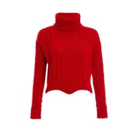 Quiz Ladies Cable Knit Roll Neck Crop Jumper - Red Photo