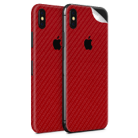 WripWraps Red Carbon Fibre Vinyl Skin for iPhone XS - Two Pack Photo