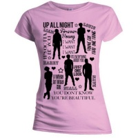 One Direction Silhouette Lyrics Skinny Pink T-Shirt Photo