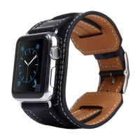 Tuff Luv Tuff-Luv Bracelet Leather WatchBand with Connector for the Apple Watch - 38mm - Black Photo
