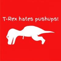 T-Rex Hates Push Ups! Womens Hoodie Red Photo