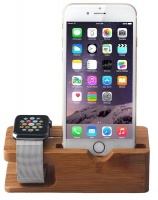 Tuff Luv Tuff-Luv Moulded Bamboo Wood Charging Stand for Apple Watch and iPhone - Brown Photo