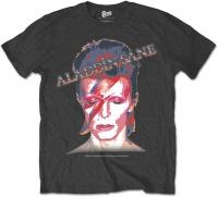 David Bowie - Aladdin Sane Mens Charcoal T-Shirt Photo