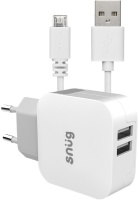 Snug 2-Port 3.4 Amp Wall Charger With Micro USB Cable Photo