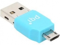 PQI RF01-0011R014J Connect 203 OTG USB Drive Micro SD Card Reader - Blue Photo