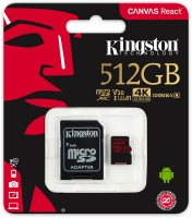 Kingston Technology Kingston Digital SDCR/512GB Canvas React 512GB microSDXC Class 10 microSD Memory Card UHS-I 100MB/s R Flash Memory High Speed microSD Card with Adapter Photo