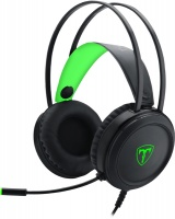 T Dagger T-Dagger Ural Heavy Bass Gaming Stereo Headset with backlighting - Black/Green Photo
