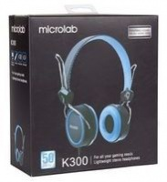 Microlab K300 Headset 3.5mm Stereo Input - Blue Photo