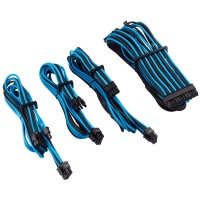 Corsair Premium Individually Sleeved Blue/Black PSU Cable Kit Starter Package Photo