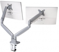 Kensington One-Touch Height Adjustable Dual Monitor Arm - Silver Photo