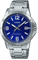 Casio Stainless Steel Analog Mens Wrist Watch - Silver and Blue Photo