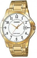 Casio Stainless Steel Analog Mens Wrist Watch - Gold and White Photo
