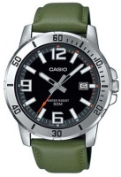 Casio Enticer Series Analog Mens Wrist Watch - Silver and Green Photo
