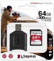 Kingston Technology - 64GB Canvas React Plus UHS-2 SDXC Memory Card Photo