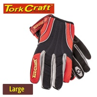 Tork Craft Mechanics Glove Large Synthetic Leather Reinforced Palm Spandex Red Photo