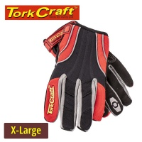 Tork Craft Mechanics Glove X Large Synthetic Leather Reinforced Palm Spandex Red Photo