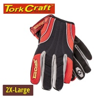 Tork Craft Mechanics Glove 2x Large Synthetic Leather Reinforced Palm Spandex Red Photo