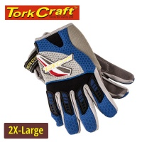 Tork Craft Mechanics Glove Xx Large Synthetic Leather Palm Air Mesh Back Blue Photo