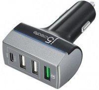 j5 create 4-Port USB QC3.0 and Type-C Car Charger - Black Photo