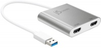 j5 create USB 3.0 to Dual HDMI Multi-Monitor Adapter - Silver Photo