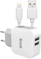 Snug 2-Port 3.4 Amp Wall Charger With Lightning Cable Photo