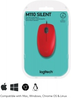 Logitech - M110 Wired Mouse - Red Photo