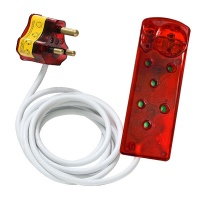 Ellies 3m 4-Way Surge Secure Power Protector Extension Cable - White and Red Photo