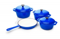 La Fermete Seven Piece Cast Iron Enamel Cookware Pot Set - Red Photo