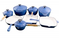 La Fermete 13 Piece Cast Iron Enamel Cookware Pot Set - Blue Photo