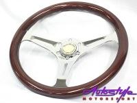 300mm Woodgrain & Chrome Steering Wheel Photo