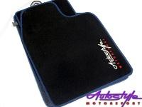 Autostyle Velour Black & Blue Floor Mats Photo