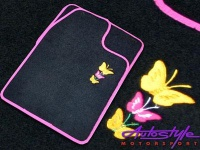 Butterfly Car mats with pink trim Photo